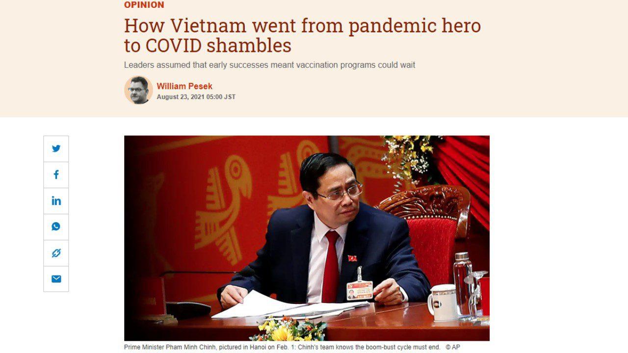 Nikkei Asia: Làm thế nào mà Việt Nam từ anh hùng chống dịch trở thành mớ hỗn độn do COVID?